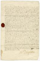 "5 Novr. 1685 Sr. Wm. Stapletons Grant. 1685 Of the use of the Old Road River with permission to build Mills and Indigo Works (docket title). ""Original Grant of the use of the water in the Old Road River for the benefit of the Wingfield Estate"" (2d docket"