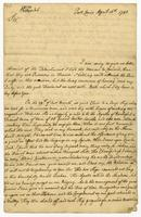 Port Louis, 16 April 1745. To The Honble Coll: Jno. Cottrell… (first line)