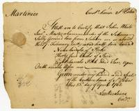 Martinique, 23 April 1762. Ms. Customs certificate
