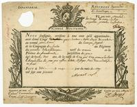 Du 26. May 1763 Pierre Caron d. Besanc?on Sergt. 21. Revu¨e de M. De Calaru 11. May 1763Congé Militaire. Martinique, 26 May 1763. Printed from, blanks… (Docket title on verso)