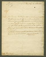 St. Pierre, Martinique, 21 Oct. 1765. Ms. and autographer letter, signed...