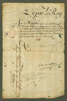 Versailles, 11 March 1766. Printed form, blanks filled in ms.,...