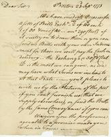 Boston, 23 Sept. 1773. Ms. Letter to Joshua Wentworth, signed...