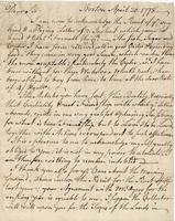 Boston, 20 April 1778. ALS to Joshua Wentworth
