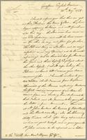 Antigua 20 Augt. 1779 Letter from Commodore Collingwood with an accot. of his proceedings at English Harbour. Recd. by the Surprize 27 Augt. (docket title)