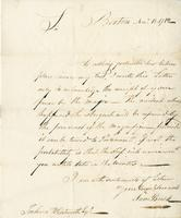 Boston, 11 Nov. 1782. ALS to Joshua Wentworth