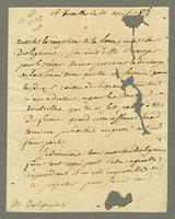 la Touche, _ de, fl. 1786. Versailles, 21 April 1786. Ms. letter to...