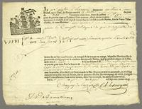 Bill of lading for coffee, Le Havre, 8 June 1786. Printed form...