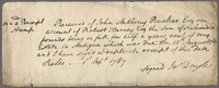 Form of Receipt to Mr Harvey (docket title), 1 Sept. 1787. Ms...