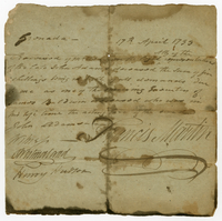 Francis Martin's receipt of Mr Warren. Grenada, 17 April 1799...