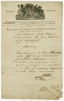 Guadeloupe, 26 Jan. 1801. Ms. Letter on printed form, signed