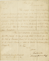 Horse Guards, 8 Nov. 1805. Ms. Letter to George Beckwith, signed...