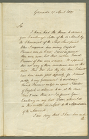 Grenada, 27 April 1807. Ms. Letter to Ernouf, signed