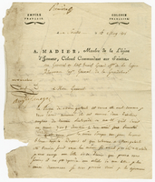 Saintes, Guadeloupe, 15 May 1808. Printed form, blanks filled in ms...