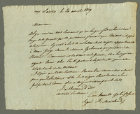 20 April 1809. Ms. Translation of 20 April 1809 letter to Ernouf,...