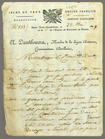 "Guadeloupe, 22 May 1809. ALS to ""Monsieur Le Commandant,""..."