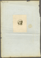 Engraved portrait, 11.5 X 9.1 cm., glued to larger sheet of frayed paper...