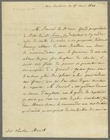 Tuileries, 15 March 1821. Ms. letter to Sir Charles Stuart, signed