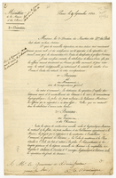 "Paris, 9 Sept. 1823. Printed form, blanks filled in ms. ""Monsieur, la..."