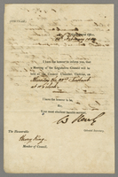official 1844 Honbe Wm Hanley Castries 13 Feby Recd 18 Feby with my reply (docket title).