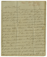 "25 May 1838. AL to Joseph Liggins, ""My Dear Friend..."