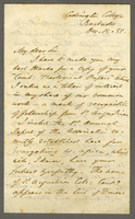 "Condrington College, Barbados, 15 Dec. 1851. Ms. Letter to ""The Rev..."