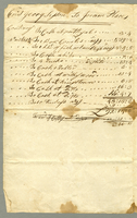 Account sheet. George Sisson to Joram Place at Kingston Jamaica. 2 pp. 33.5 x 21 cm.