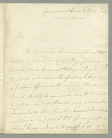 "Letter from the Governor of Barbados, D. Parry, to His Royal Highness Prince William Henry about a ""ship under American colours...pleading distress"". He requests an examination of the ship and the Prince to order the ship to Martinico or St. Lucie if it i"