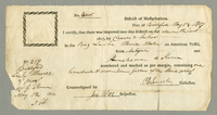 Two importation certificates for rum brought from Antigua on an American vessel. Signed C. B. Lincoln and Jere Hill. May 13, 1807. 2 pp. 13 x 25 cm.