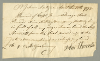 "Receipt for wages ""Due on board the Ship Harriott"". Dated April 30, 1775. 1 p., 20 x 12 cm."