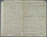 Wm Bate and Alice Bate their deed of Settlemt of planta Delarouse on Rd Bate Augt 14 77 (docket title)
