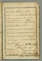 "Baptisimal form. Early example of Demerary printing. Certifies the baptism of William Clark, born 17 Oct 1805, son of Richard Clarke and Anna Marie Runnels Clarke. Printed on fine ""Dobbs Patent"" paper with blind stamped decorative scroll border inside whi"