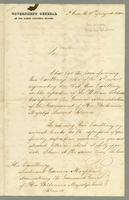 "Letter to Lt. Gov. Macphail who has taken command of the British Leeward Islands offering conveyance to St. Croix for a meeting. On official stationary of the ""Government General of the Danish West India Islands"". August 17, 1840. 3 pp., 34.5 cm."
