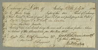 Exchange for 100 of Sterling St. Kitts July 22,1820 At thirty days light of this our Third of Exchange...pay to the Order of Captn Dougald McColl in London One hundred pounds Sterling Value received and charge...to the Account of the adventure per the Ros