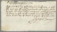 1680. Receipt from Christopher Jeaffreson to Joseph Donnerd