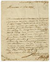 Letter to M. de Mareuil, Martinique, 11 Aug. 1729