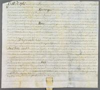 Dame Ann Stapletons Bill of Sale of 1/10 pt. of ye Francis and Dorothy To Capt. Jefferson (docket title).